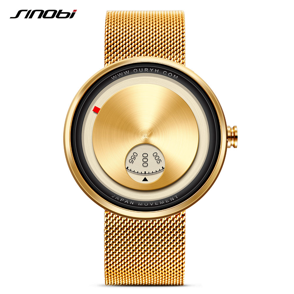 SINOBI New Golden Geek Mens Watches Creative Fashion Wrist Watches Rotate Plate Dial With Milan Strap Relogio Japan Movt Watch