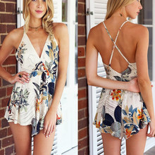 Missord Clearance Summer print v neck strap playsuit FT2033(China)