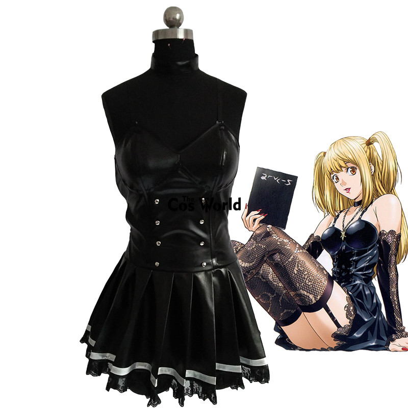 Death Note Misa Amane Imitation Leather Sexy Tube Tops Lace Dress Uniform Outfit Anime Cosplay Costumes anime death note male black short curly cosplay wig show