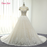 Taoo Zor Gorgeous Embroidery Lace Appliques A line Wedding Gown 2018 Champagne Tulle with Ivory Lace Wedding Dresses Plus Size