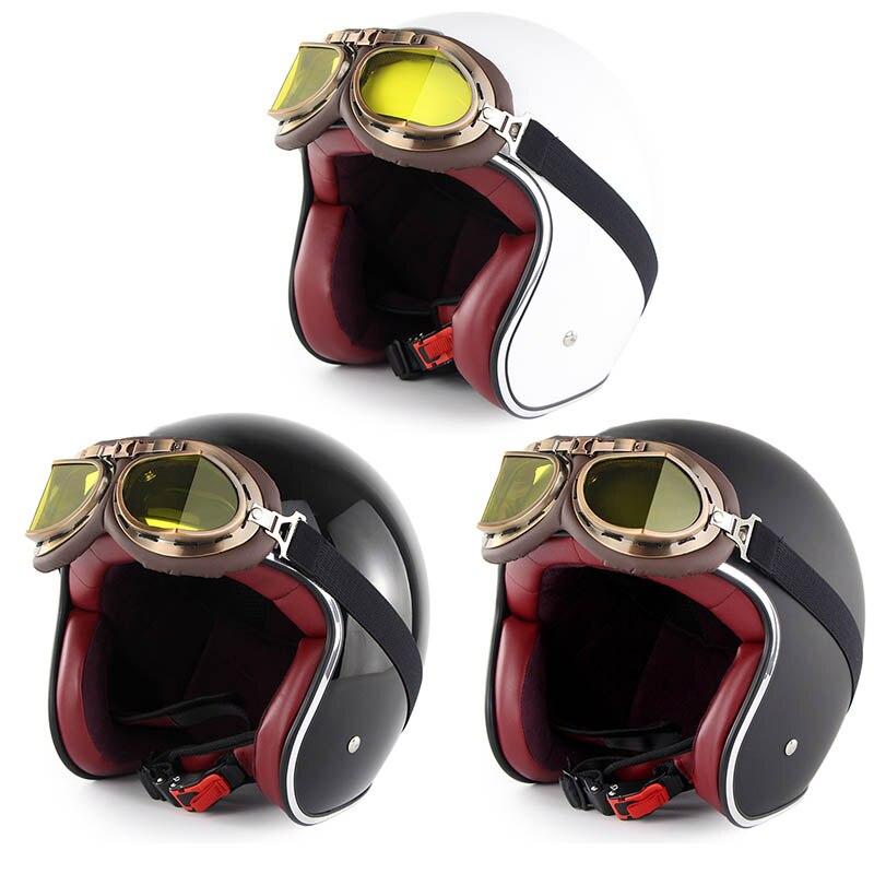 Demi-casque de moto en cuir rétro casque de moto Vintage avec lunettes YAN88