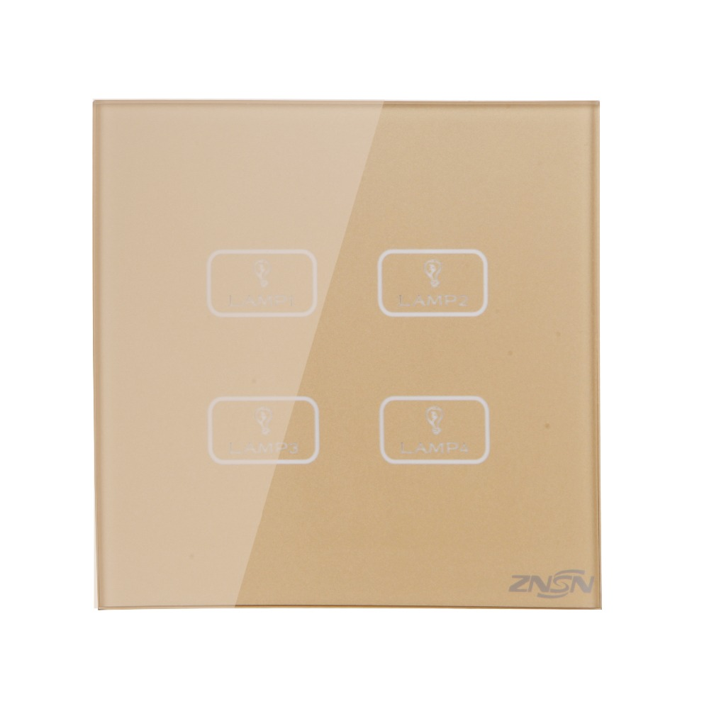 N and L Line 4 Gang 2 Way 86x86x37mm Luxury Crystal Glass Panel Wall Touch Switch