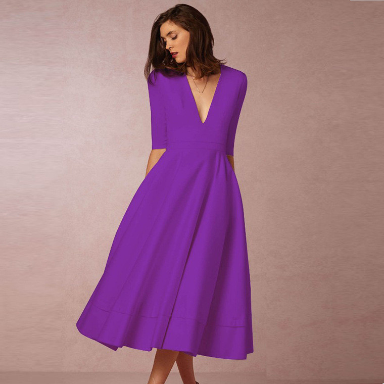 Summer Women Sexy Deep V Neck Short Sleeve Long Purple Dress A Line Party High Waist Girls Dress Plus Size Elegant