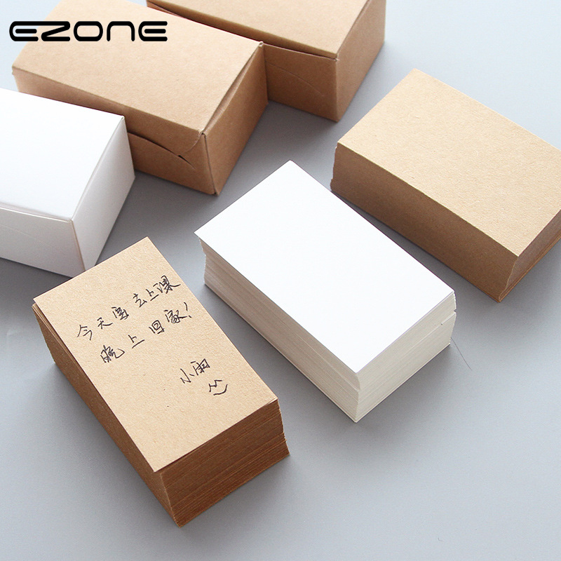 EZONE White/Brown Kraft Paper Memo Pad Writing Card Message Paper Thicken 100 Steets Vocabulary Book School Office Memo Pad