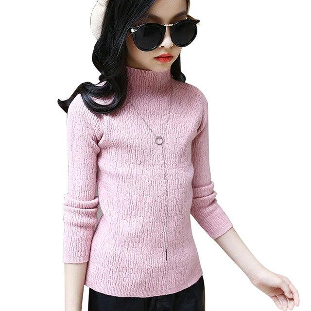a9a8f2fab 2017 Kids Cardigan Sweater For Girls Turtleneck Cotton Children ...