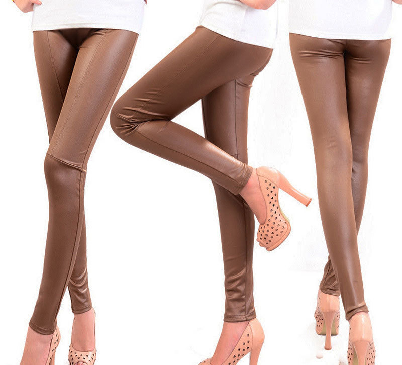 Women Sexy Modern Slim PU Leggings Black Brown Pure Color High Waist Gothic Leggins Mujer Skinny Punk Leather Women Leg Modis