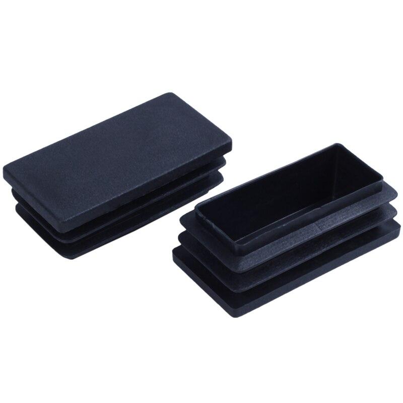 Plastic Rectangle Blanking End Tube Caps Inserts 25x50mm 30pcs Black