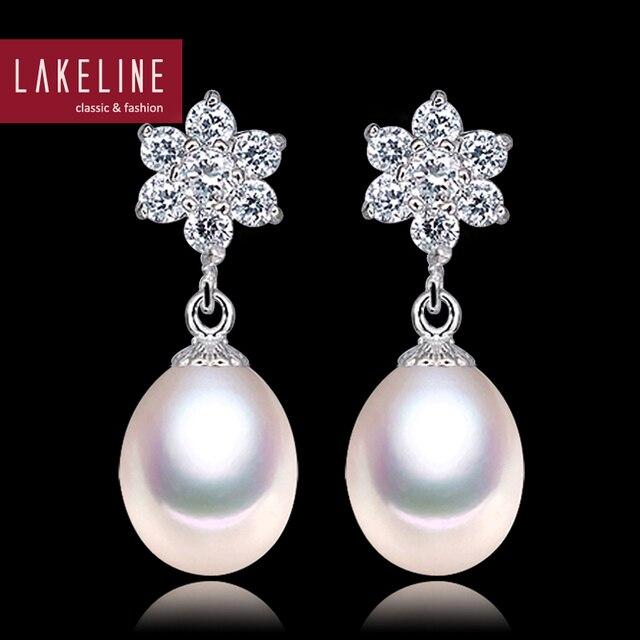 Fashion Cz Crystal Flower Earrings 8mm Freshwater Dangle Pearl Women Wedding Bridal Earring Friends