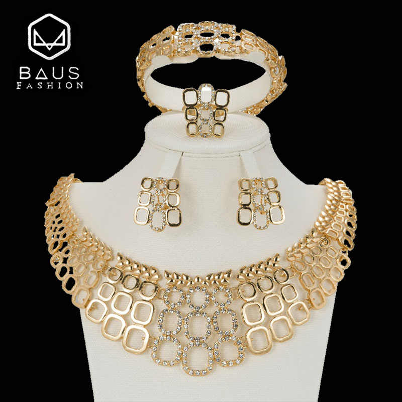 BAUS 2018 big Nigerian jewelry sets dubai gold Color jewelry set Wholesale bridal bead wedding Jewelry set Women costume design