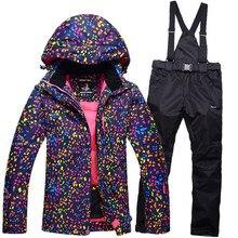 Venta caliente de la nieve chaquetas de las mujeres traje de esquí chaquetas y pantalones de la ropa interior al aire libre solo snowboardl therma esquí ajustado a prueba de viento de esquí