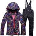 Venda quente casacos de neve conjunto terno de esqui jaquetas e calças roupa interior das mulheres conjunto termal à prova de vento de esqui ao ar livre esqui único snowboardl