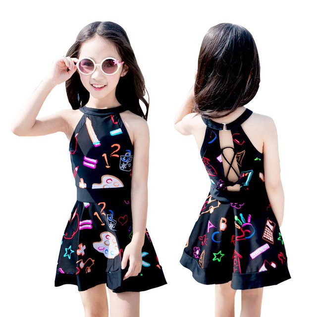 314d438011f65 Kids swimwear Girls cute princess one piece swimsuit Children dress  swimming clothing beach wear Black color