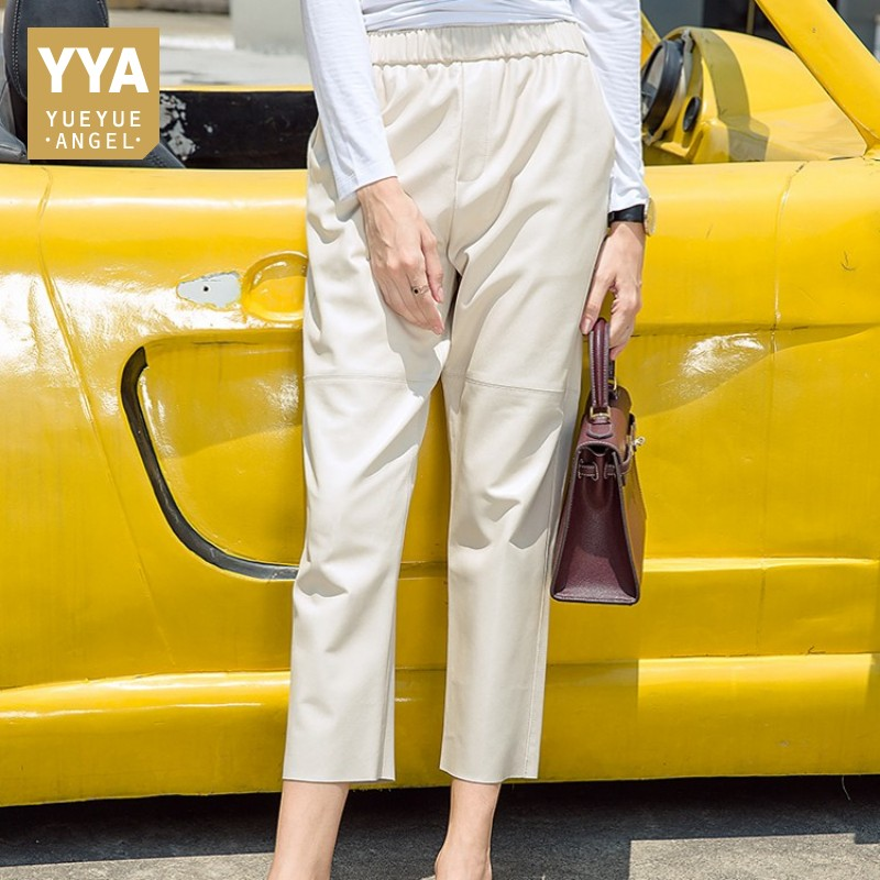 BF Style Women Ankle Length Elastic Waist Harem Pants Luxury 100% Sheespkin Real Leather Streetwear Trousers Spring Casual Pants