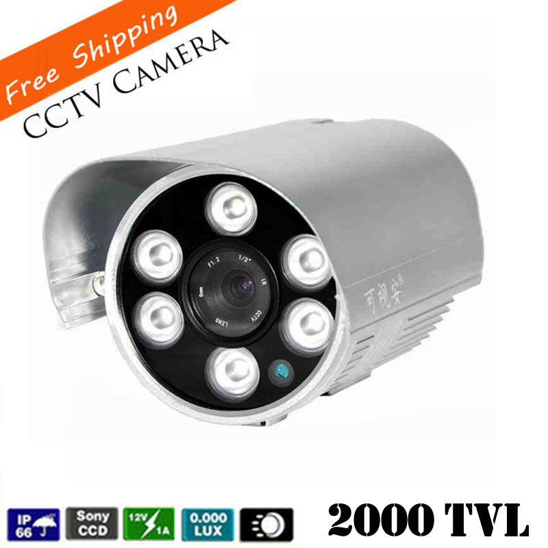 Newest 1 3 SONY CCD CCTV Camera HD 2000TVL Waterproof IR distance 80 Meters Outdoor Security