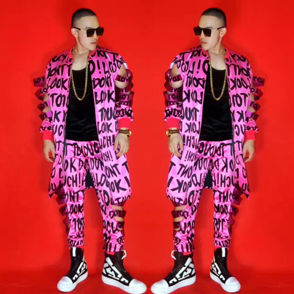 Personality Men's Fluorescent Pink Hollow Out Letters Party Costumes Nightclub Singer Bar DJ Hip-hop Rock DS Costumes