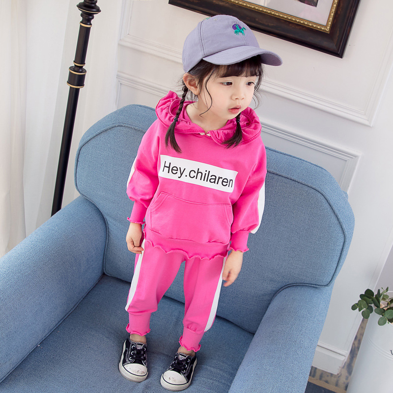 Wholesale (4 sets/lot) 2019 Children's Clothing Hoodies & Bottom 2 PCs Set Girls Clothing Sets Spring 122406