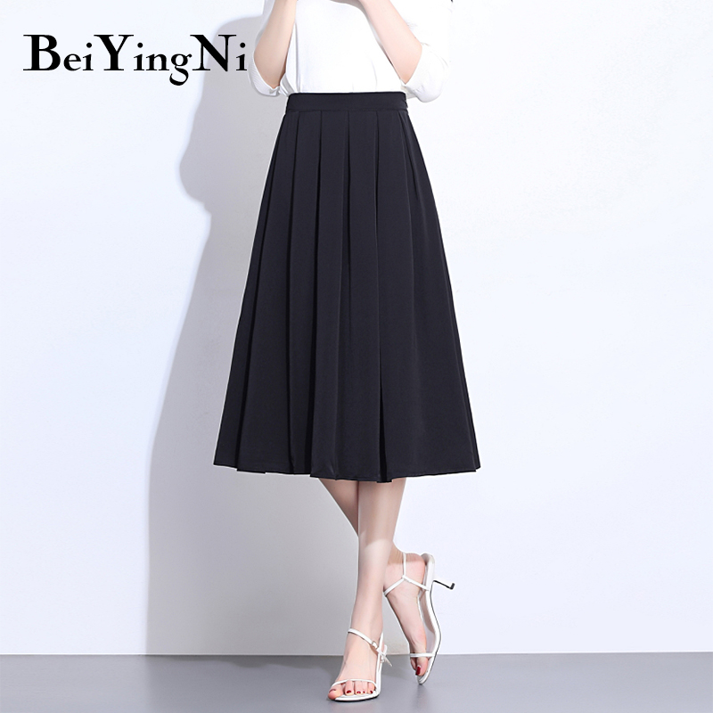Beiyingni Summer Pleated Skirt Women Solid White Black Slim Elastic High Waist Saia Vintage Casual Elegant Skirts Faldas Mujer