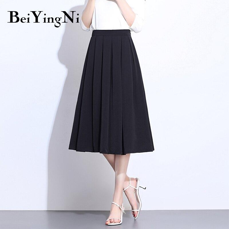 Beiyingni Summer Pleated Skirt Women Solid White Black Slim Elastic High Waist Saia Vintage Casual Elegant Skirts Faldas Mujer