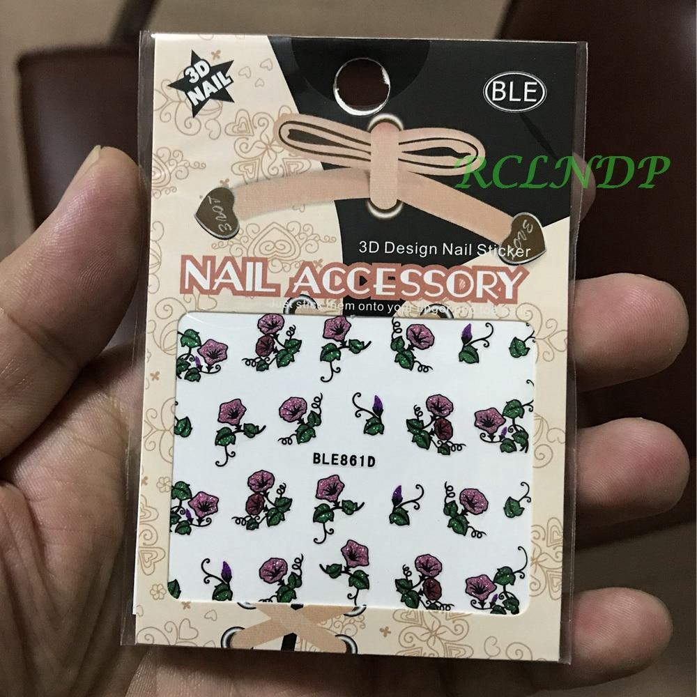 3D Nails Art Sticker all decorations sliders rose trumpet flower ...