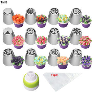 23pc/Set Stainless Steel Pastry Nozzles For Cream With Pastry Bag Decorating Cake Icing Piping Nozzles Confectionery Baking Tool