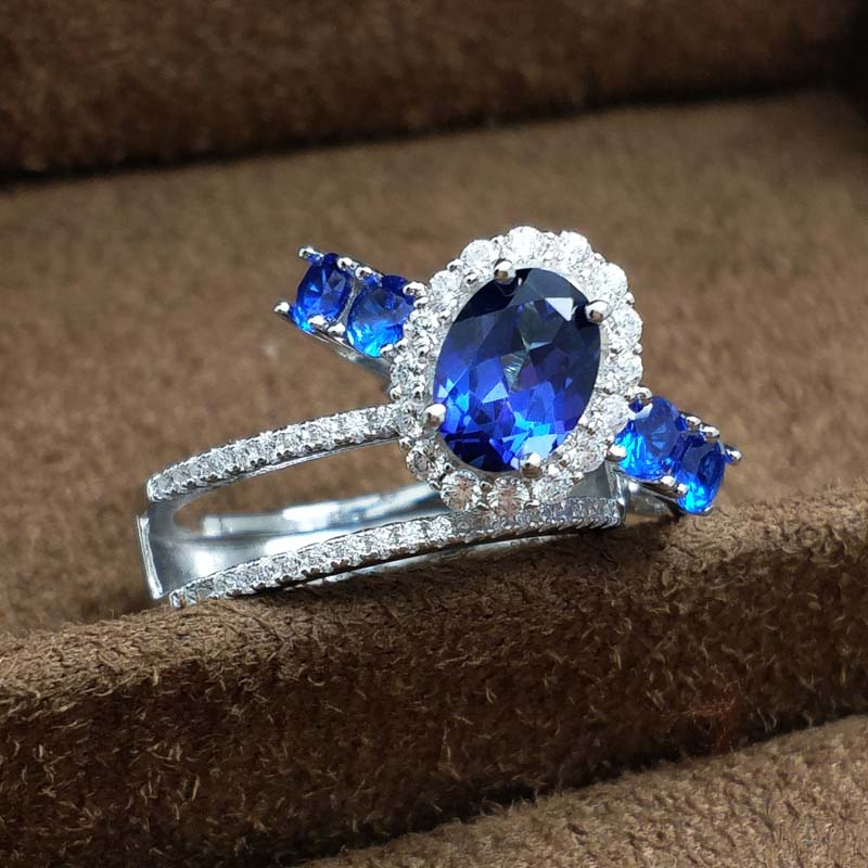 FLZB Fine Jewelry Ring Natural Topaz Gemstone in 925 Sterling Silver Tanzanite Color Gem Double Ring