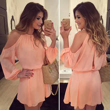 2018 Sexy Women Ladies Summer Casual Long Sleeve Pink Off shoulder Casual Mini Dress Party Short Chiffon Dress(China)