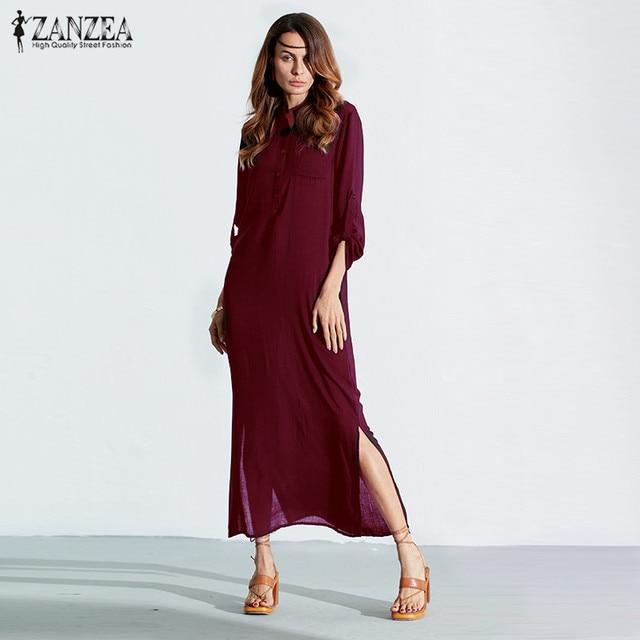 59babf839a ZANZEA Fashion Women 2017 Summer Long Sleeve Dress Plus Size Vestidos Linen  Split Solid Long Maxi Sexy Deep V Neck Casual Dress