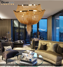 Aluminum Chain Tassel Chandelier Lights Modern Hanging Lighting For Living Room Industrial Lamp Suspension Luminaire MD86212