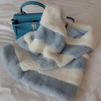 Зимний модный милый новый замшевый жилет в полоску с норковым мехом, женский комбинезон, короткий жилет