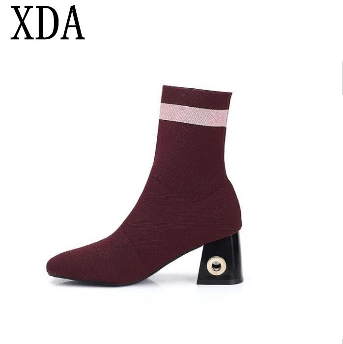 XDA new fashion Women high heel Boots Winter waterproof Square head Round toe Warm boots Martin boots free shipping