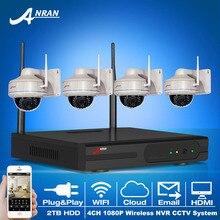 4CH NVR Беспроводной Системы ВИДЕОНАБЛЮДЕНИЯ и 1080 P 2.0 Мегапиксельная HD Открытый Антивандальная Купольная WI-FI IP ИК-Камеры Видеонаблюдения комплект + 2 ТБ HDD