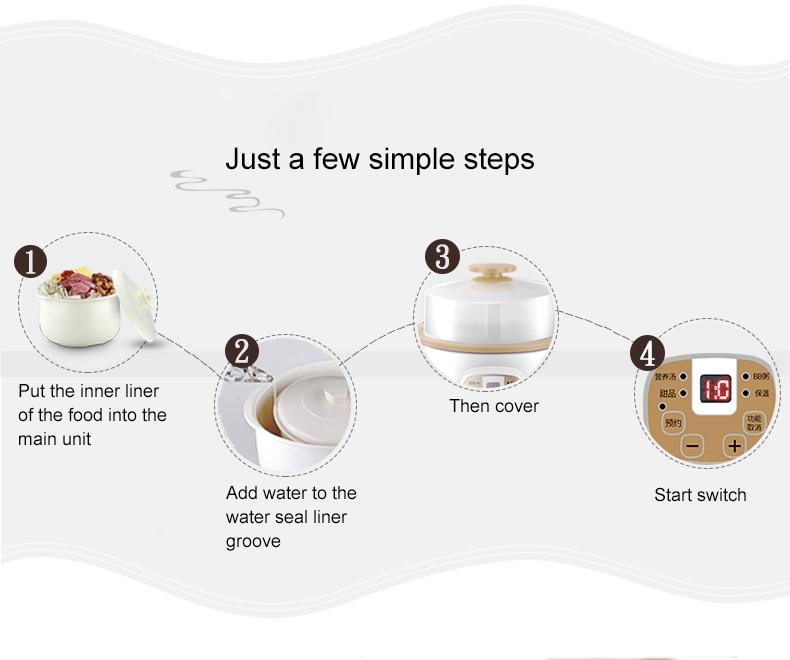 DMWD 0.8L электрическая Мультиварка варочная тушеная детская каша керамическая кастрюля для приготовления супа птичья еда яйца Пароварка машина для завтрака