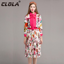 CLOLA Women Dress 2017 Autumn Long Sleeve Two Pieces Set Pleated Dresses Rose Red Bow Casual Party Elegant Vestidos