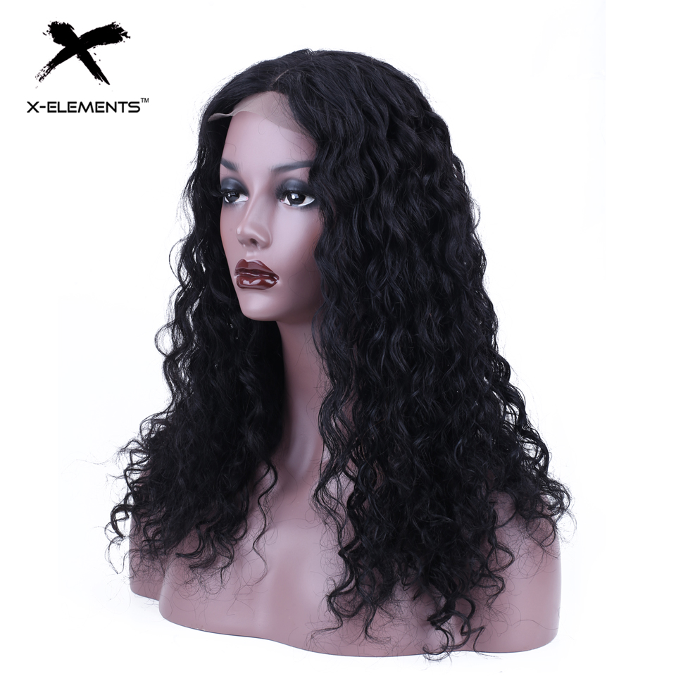 Brazilian Deep Curly Lace Wig Remy 4x4 Lace Front Wigs For Black Women 100% Human Hair Lace Front Wig With Baby Hair X-Element(China)
