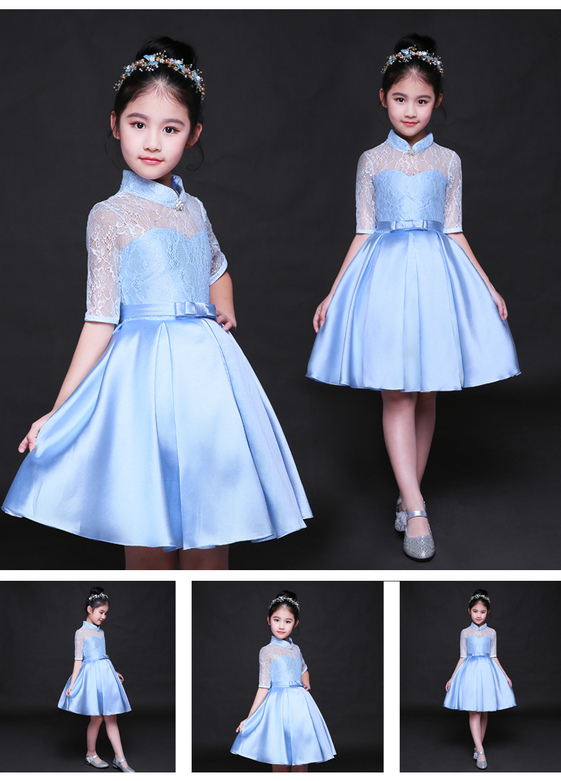 HTB17 uSSFXXXXXtXpXXq6xXFXXX7 - Baby Girl Kid Evening Party Dresses For Girl Wedding Princess Clothing 2017 New Solid Color Bow Moderator Dress Children Clothes