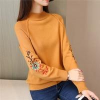 45 new winter Han edition dress raglan embroidered long sleeved half a turtleneck sweater F1978