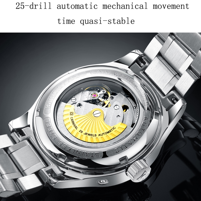Image 2 - Seiko Automatic Movement Carnival Top Brand Luxury Men Mechanical Watch relogio masculino Clock Stainless Steel Strap Men Watch-in Mechanical Watches from Watches