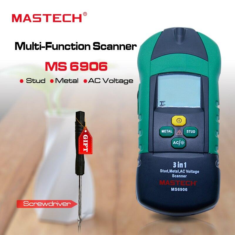 Acheter 1 Livraison 1 MASTECH MS6906 3 dans 1 boucles en métal détecteur Mur Scanner détecteur AC Tension Testeur Jauge D'épaisseur w/PCI