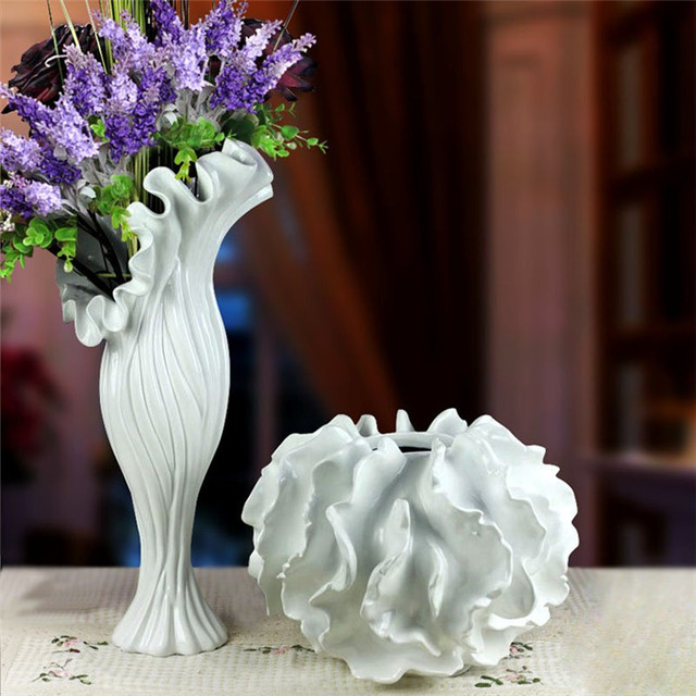 Resin Large White Purple Large Flower Vase Sea Style For Modern Home