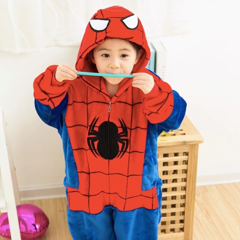 Children Clothes Spiderman Animal Pajamas spider man Cosplay Costumes Unisex kids Boys Girls Flannel Sleep Tops Onesies Pyjama
