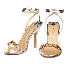 Designer Shoes Women Luxury Gemstone Jeweled Gladiator Sandals Gold High Heels Woman Ankle Strap Rhinestone Sandals