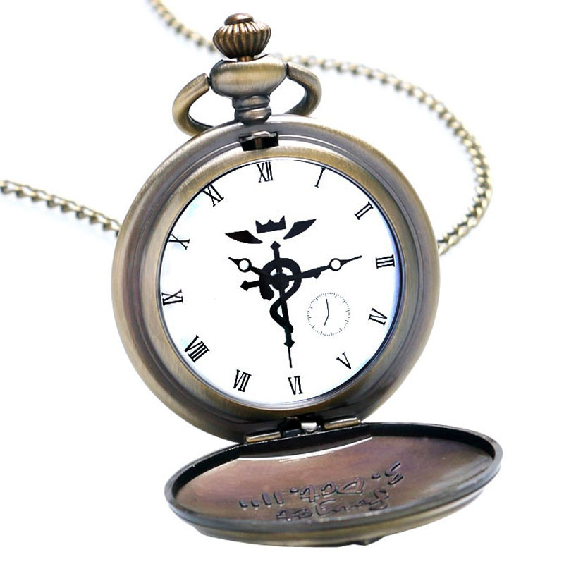Купить с кэшбэком YISUYA Bronze Fullmetal Alchemist Quartz Pocket Watch with Necklace Chain Box Bag Relogio De Bolso Jewelry Gifts Sets