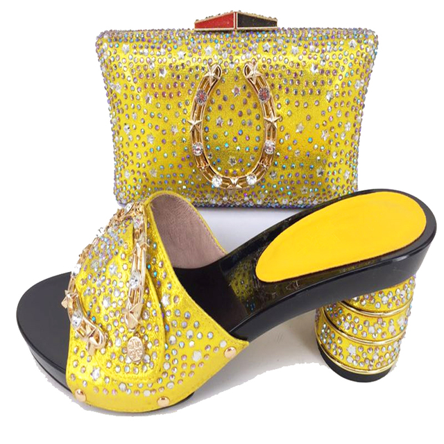 Bright yellow shoes and bag matching set black color elegant stones  slippers clutches bag for african aso ebi party SB8158-3 a04b519539ee