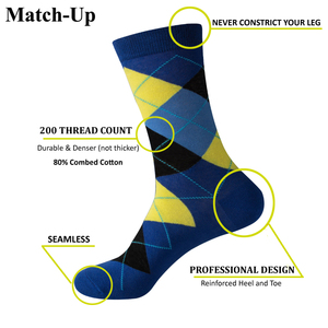 Image 2 - Match Up Men Colorful Argyle  Cotton Crew socks  Brand Business Socks  (5 pairs / lot )