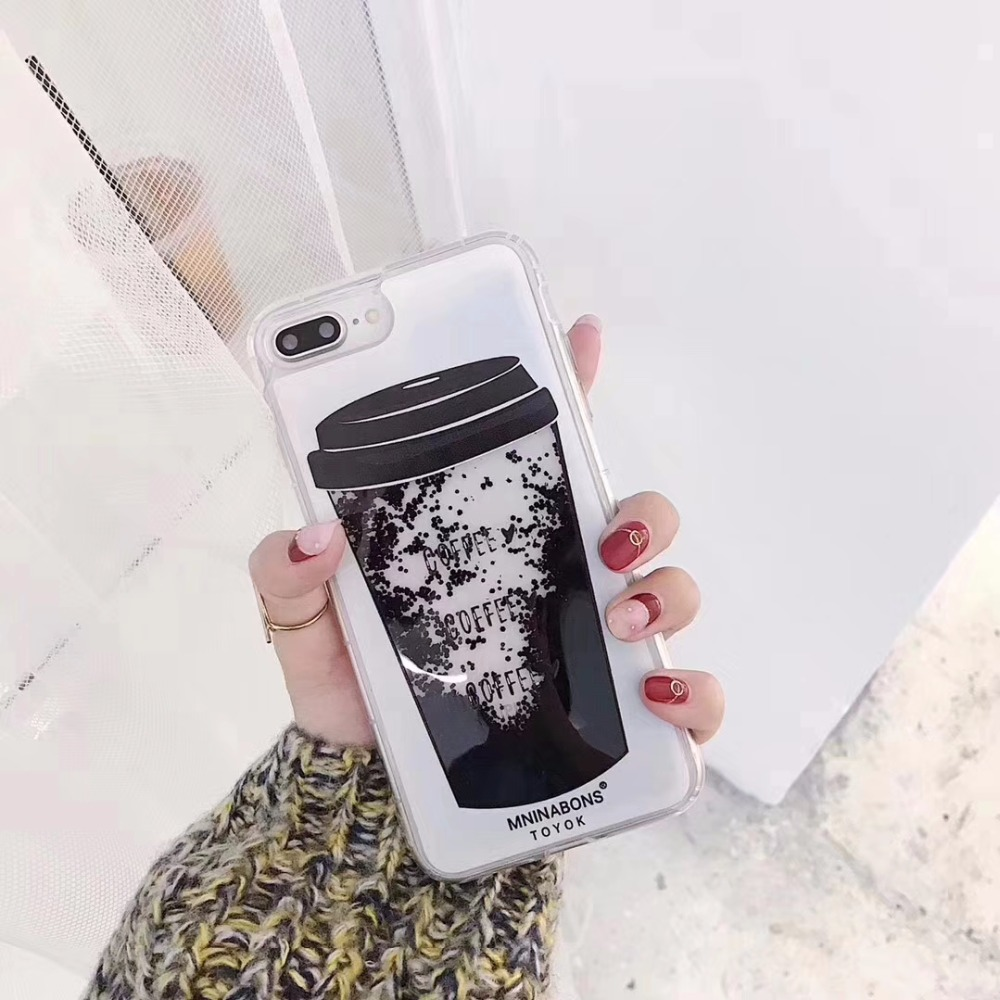 Spring Lemon NEW Liquid Quicksand Black Coffee Granule Bubble Trend Phone Case For iPhone X 8 8plus 7 7plus 6 6s 6plus 6s plus