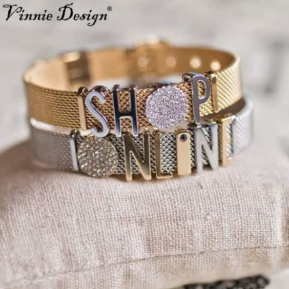 Vinnie design bijoux en acier inoxydable charme bracelets gardien maille bracelet en argent or avec lettre touches