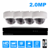 4pcs IP camera and 4ch NVR Kits CCTV Home Security Outdoor Surveillance System Kit HD 2MP English Version