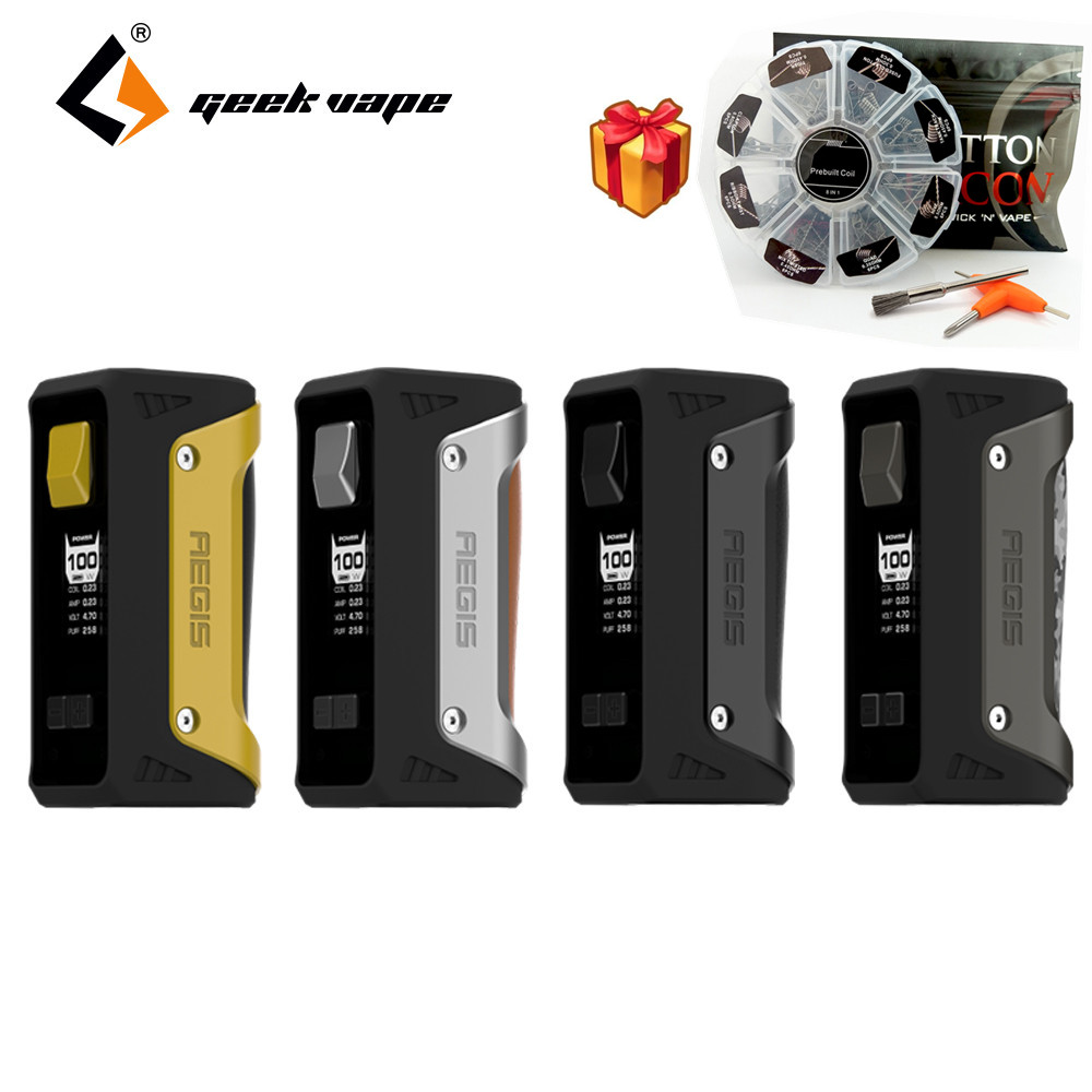 Waterproof Electronic Cigarette Mod Original Geekvape Aegis 100W TC Box MOD IP67 Grade the Most Robust Vape with 8 in 1 coil