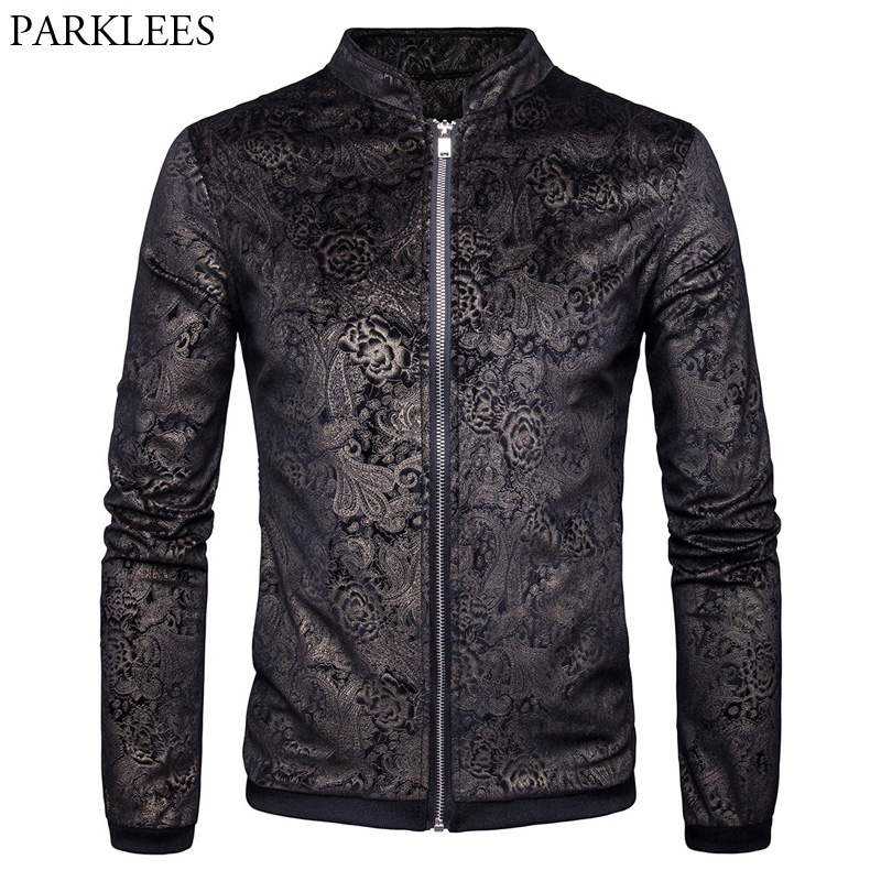 Paisley Jacket Men 2017 Gold Print Mens Jackets Coats ...