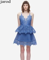2017 Summer Women Mini Dress Sexy Lace Trimmed Peplum Blue White Hollow Out Elegant Sleeveless Dresses